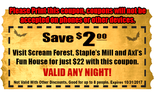 image about Staple Printable Coupons identified as Creepy Hollow Scream Park coupon codes